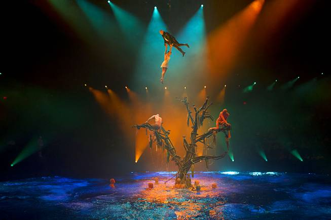 "Colby Lemmo, top, is lifted into the air during a performance of ""Le Reve — The Dream"" on Monday, Feb. 10, 2014, at Wynn Las Vegas."