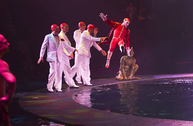 "Damian Brodaczewski is thrown into the water during a performance of ""Le Reve — The Dream"" on Monday, Feb. 10, 2014, at Wynn Las Vegas."