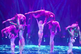 "Performers are lifted out of the water in a scene during ""Le Reve — The Dream"" on Monday, Feb. 10, 2014, at Wynn Las Vegas."
