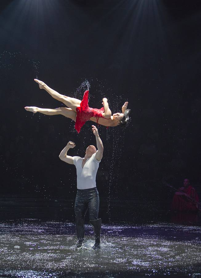 "Colby Lemmo is thrown in the air by Chris Carter during a performance of ""Le Reve — The Dream"" on Monday, Feb. 10, 2014, at Wynn Las Vegas."