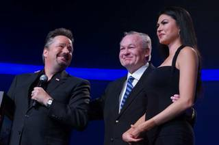 Terry Fator and his wife, Taylor Makakoa, are honored by the military Thursday, Feb. 6, 2014, at the Mirage in Las Vegas.
