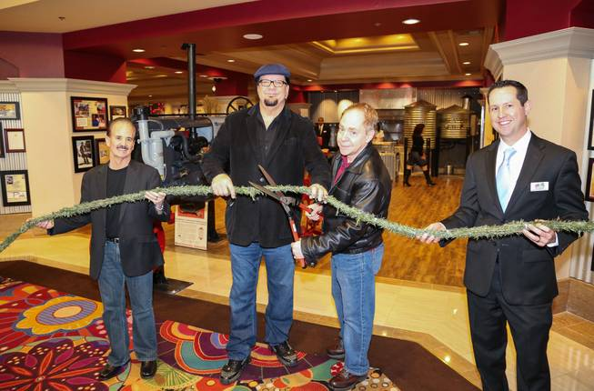 Jim Rees, Penn Jillette, Teller and Dan Walsh at the opening of Hash House a Go Go on Monday, Feb. 10, 2014, at the Rio.