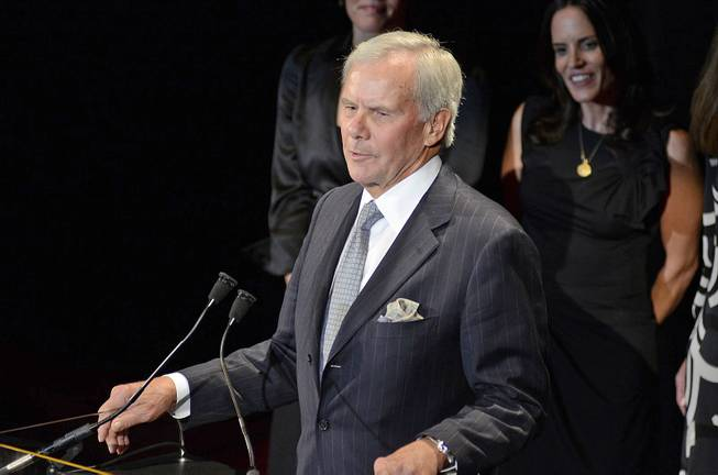 Former NBC News anchor Tom Brokaw accepts the Freedom Award at the International Rescue Committee Freedom Award Dinner at the Waldorf Astoria Hotel in New York on Nov. 9, 2011.