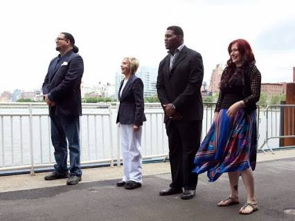 "Penn Jillette, Florence Henderson, Herschel Walker and Tiffany on the finale of ""Rachael vs. Guy"" on Monday, Feb. 10, 2014, on the Food Network."