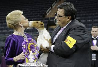 Judge Betty Regina Leininger, left, and handler Gabriel Rangel, pose with Sky, a wire fox terrier, after winning best in show at the Westminster Kennel Club dog show, Tuesday, Feb. 11, 2014, in New York.