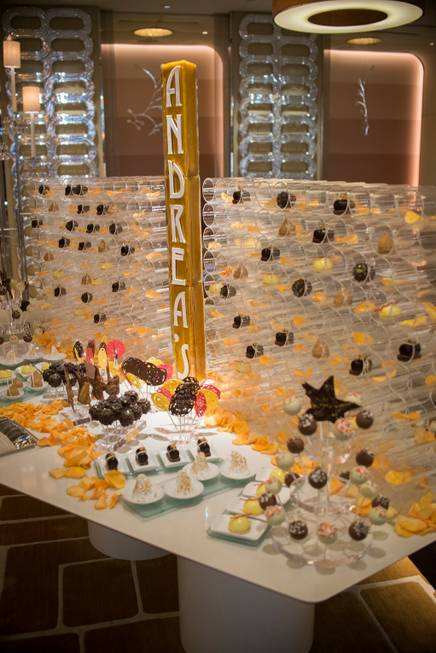 The dessert station at Andrea's first-anniversary celebration Wednesday, Feb. 12, ...