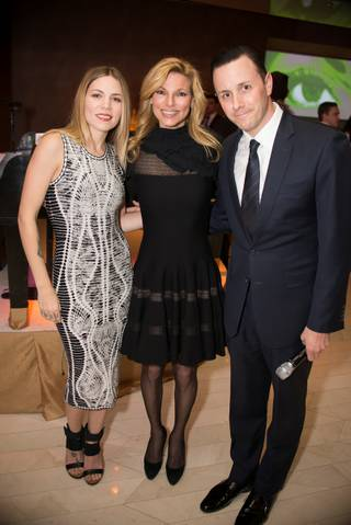 Skylar Grey, Andrea Wynn and Sean Christie attend Andrea's first-anniversary celebration Wednesday, Feb. 12, 2014, in Encore.