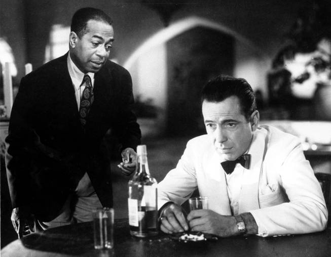 "This is a photo of Humphrey Bogart, right, as ""Rick"" and Dooley Wilson as ""Sam"" in the 1943 movie ""Casablanca."""