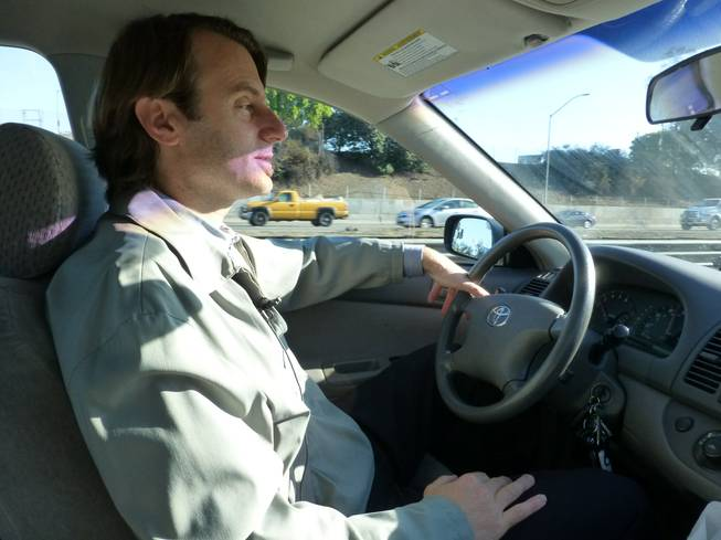 In this Wednesday, Feb. 12, 2014, photo, Associated Press reporter Justin Pritchard drives along Interstate 5, in Los Angeles. Interstate 5 in Los Angeles County is California's most congested route, according to new data from the state Department of Transportation.