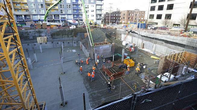 The construction site in Seattle where workers discovered what is believed to be an ice age mammoth tusk is shown Wednesday, Feb. 12, 2014.
