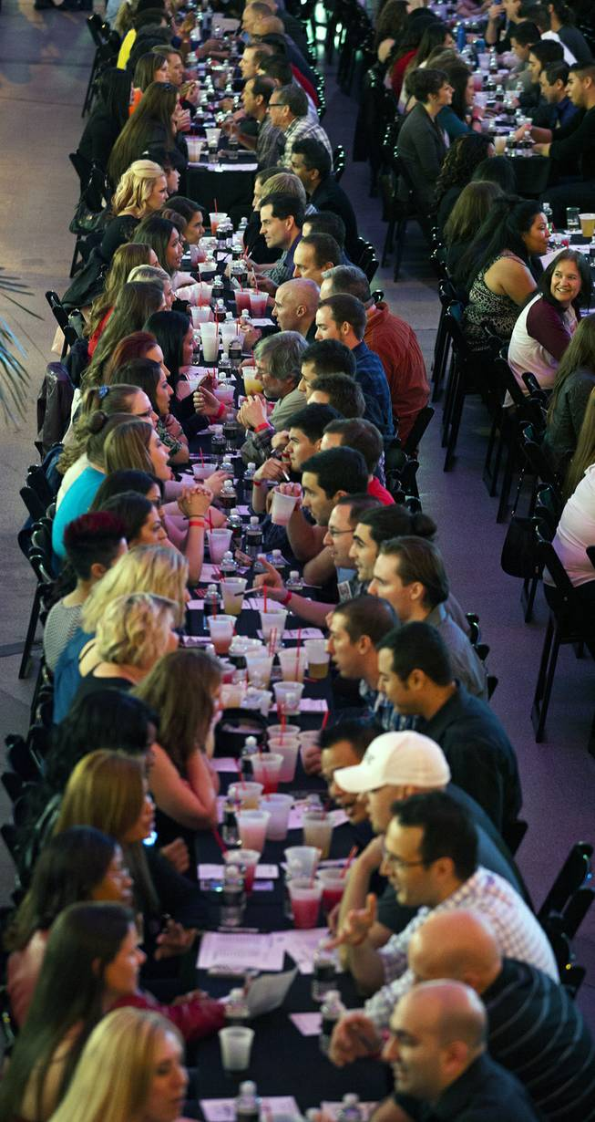 About 1,000 hopefuls take the opportunity to meet while enjoying $1 drink specials, giveaways and more while breaking the world record for the largest speed-dating event at the D Date-a-thon on Friday, Feb. 14, 2014.  L.E. Baskow