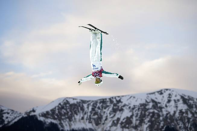 Australia's Lydia Lassila competes during the women's freestyle skiing aerials qualifying at the Rosa Khutor Extreme Park, at the 2014 Winter Olympics, Friday, Feb. 14, 2014, in Krasnaya Polyana, Russia. (AP Photo/Jae C. Hong)