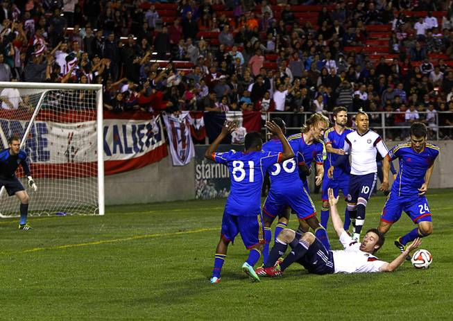 Chivas USA's Thomas McNamara (17) reacts after being tripped during the 2014 Las Vegas ProSoccer Challenge at Sam Boyd Stadium Sunday, Feb. 16, 2014. The goal set up a penalty kick and the winning goal for Chivas.