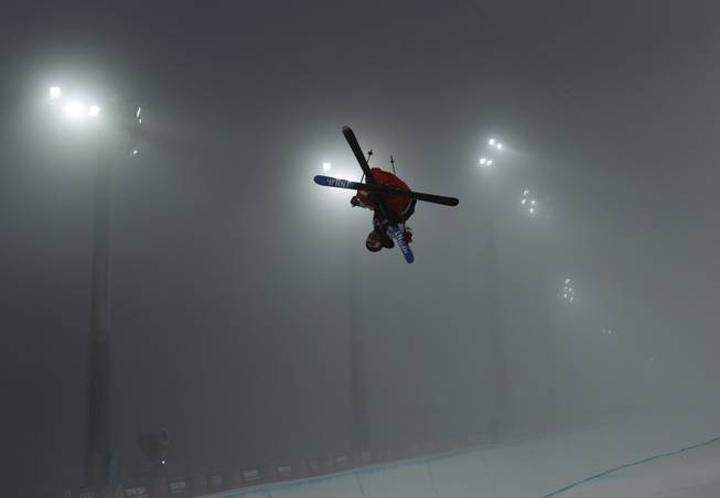 David Wise of the United States gets air during men's freestyle skiing half pipe training at the Rosa Khutor Extreme Park, at the 2014 Winter Olympics, Sunday, Feb. 16, 2014, in Krasnaya Polyana, Russia.
