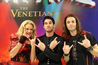 "Carrie St. Louis, Darren Criss and Justin Mortelliti at ""Rock of Ages"" on Saturday, Feb. 15, 2014, in the Venetian."
