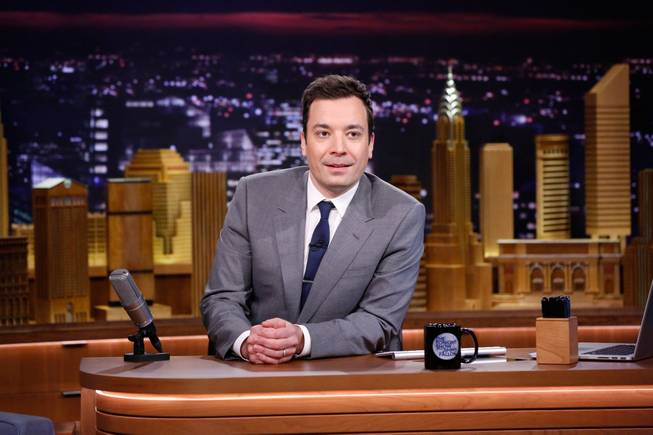 "In this photo provided by NBC, Jimmy Fallon appears during his ""The Tonight Show"" debut on Monday, Feb. 17, 2014, in New York. Fallon departed from the network's ""Late Night"" on Feb. 7, 2014, after five years as host, and is now the host of ""The Tonight Show,"" replacing Jay Leno after 22 years."