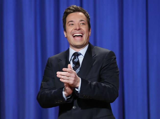 "This April 4, 2013, file photo released by NBC shows Jimmy Fallon, host of ""Late Night with Jimmy Fallon,"" in New York. Fallon will debut as host of his new show, ""The Tonight Show with Jimmy Fallon,"" on Feb. 17."