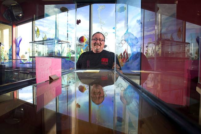 Dan Riggs, owner of Trop-Aquarium, poses in his tropical fish store at 3125 E. Tropicana Ave. Tuesday, Feb. 18, 2014. His business suffered as the shopping center went into decline but now the retail center is recovering and adding tenants.