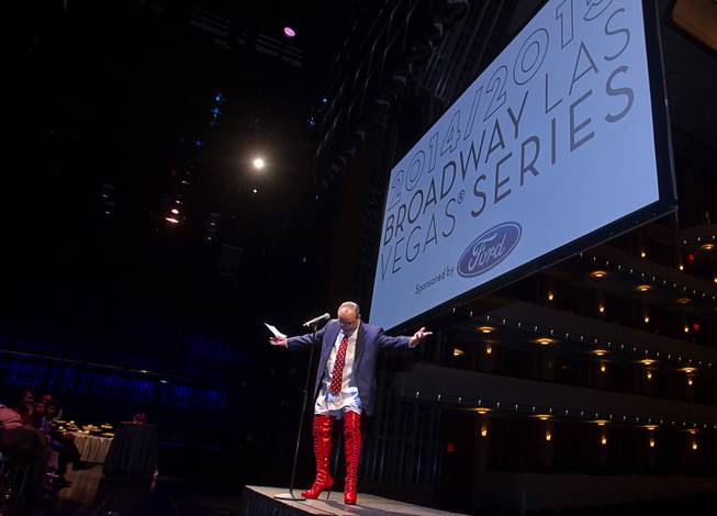 "Myron Martin, president/CEO of the Smith Center for the Performing Arts, wears kinky boots as he announces the 2014-2015 Broadway Las Vegas Series at the Center Tuesday, Feb. 18, 2014. The Tony Award-winning ""Kinky Boots"" will be coming to the Smith Center in September."