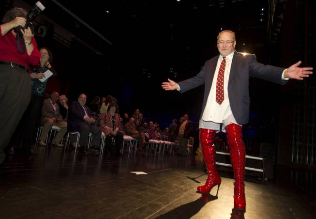"Myron Martin, president and CEO of the Smith Center for the Performing Arts, wears kinky boots while announcing the 2014-15 Broadway Las Vegas Series at the center Tuesday, Feb. 18, 2014. The Tony Award-winning ""Kinky Boots"" is coming to the Smith Center in September."