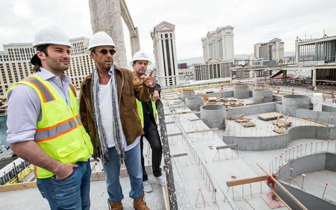 Ryan Craig, Victor Drai and Michael Gruber on the site of Drai's Dayclub and Nightclub at The Cromwell in Las Vegas set to open Memorial Day Weekend.