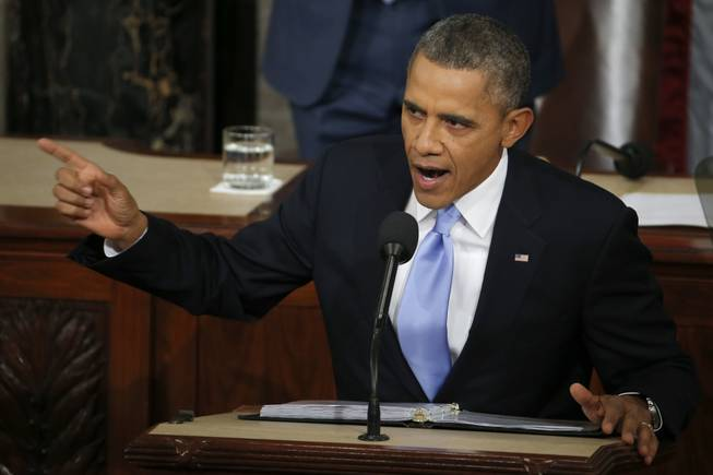 President Barack Obama delivers his State of the Union address on Capitol Hill in Washington, Jan. 28, 2014.