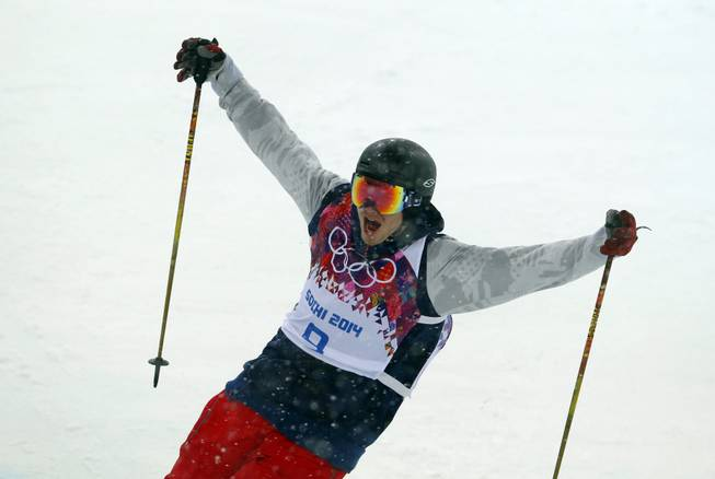 David Wise of the United States reacts after a run during the men's ski halfpipe final at Rosa Khutor Extreme Park at the 2014 Winter Olympics on Tuesday, Feb. 18, 2014, in Krasnaya Polyana, Russia.