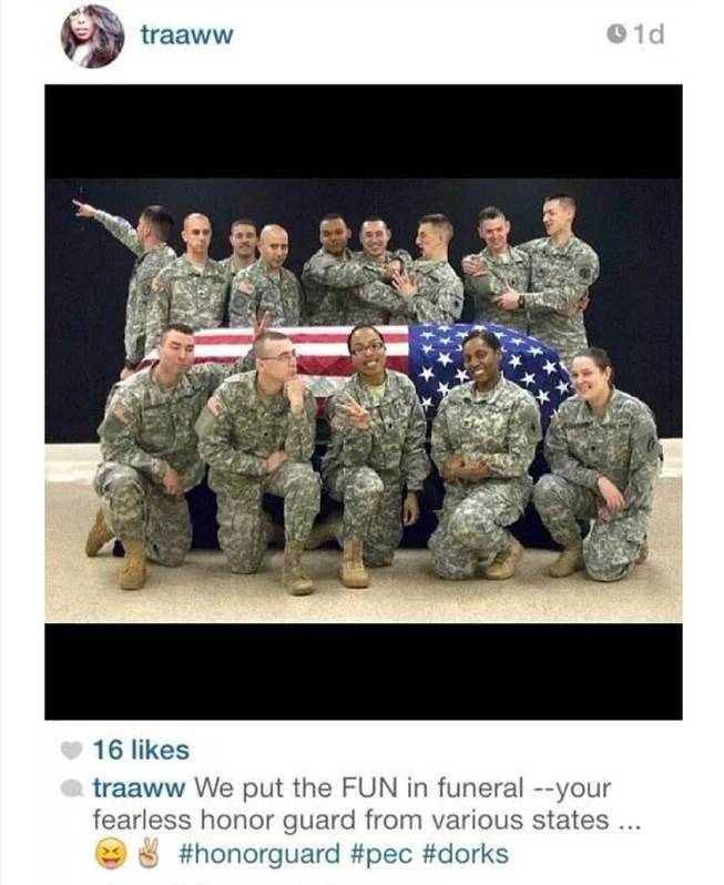 This photo posted to the instagram account belonging to Spc. Terry Harrison shows a dozen soldiers clowning around a casket draped in a flag at a National Guard training facility in Arkansas. The Wisconsin National Guard on Tuesday, Feb. 18, 2014, announced that it had suspended Harrison from honor guard duties after she apparently posted the photo.