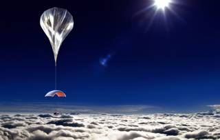 This artist's rendering provided by World View Enterprises on Tuesday, Oct. 22, 2013 shows their design for a capsule lifted by a high-altitude balloon up 19 miles into the air for tourists. Company CEO Jane Poynter said people would pay $75,000 to spend a couple hours looking down at the curve of the Earth.