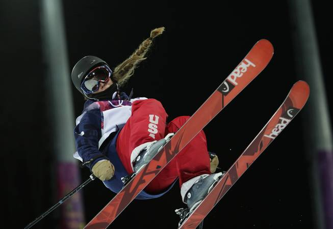 Gold medalist Maddie Bowman of the United States gets air during the women's ski halfpipe final at the Rosa Khutor Extreme Park, at the 2014 Winter Olympics, Thursday, Feb. 20, 2014, in Krasnaya Polyana, Russia.