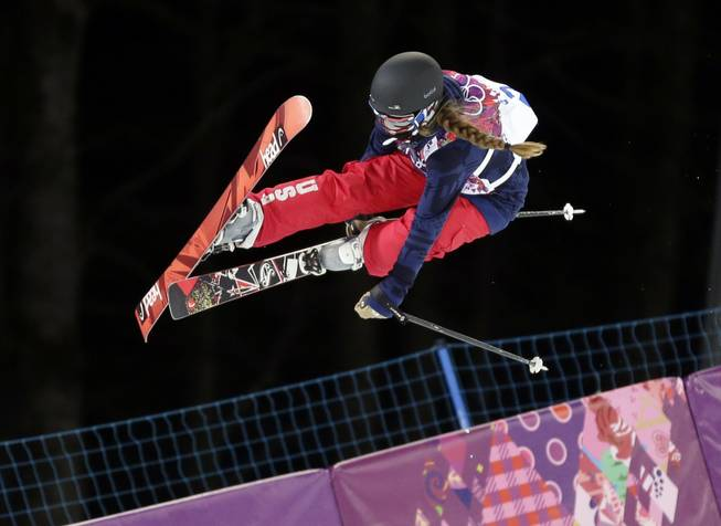 Maddie Bowman of the United States gets air during women's ski halfpipe qualifying at the Rosa Khutor Extreme Park, at the 2014 Winter Olympics, Thursday, Feb. 20, 2014, in Krasnaya Polyana, Russia.