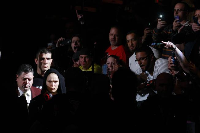 Ronda Rousey makes her entrance for her fight against Sara McMann at UFC 170 Saturday, Feb. 22, 2014 at the Mandalay Bay Events Center. Rousey won by TKO in the first round with a knee to the McMann's liver.