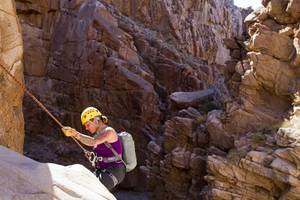 Rappelling in Keyhole Canyon