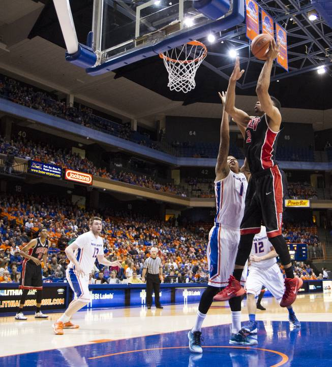 Khem Birch goes up for a shot in UNLV's 91-90 overtime loss to Boise State at Taco Bell Arena in Boise on Saturday, Feb. 22, 2014.