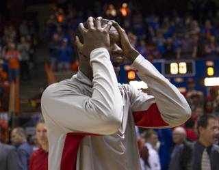 UNLV forward Demetris Morant is stunned by the ending of UNLV's 91-90 overtime loss to Boise State at Taco Bell Arena in Boise on Saturday, Feb. 22, 2014.