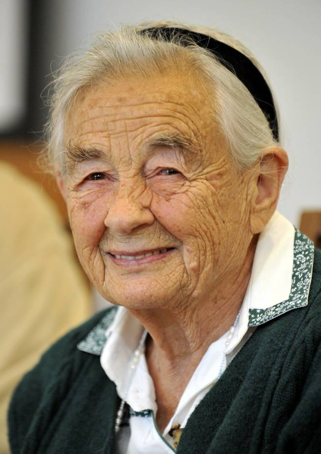 "This July 25, 2008, file photo shows Maria von Trapp, daughter of Austrian Baron Georg von Trapp, smiling during a press conference at the Villa Trapp in Salzburg, Austria. The last surviving member of the Trapp Family Singers made famous in ""The Sound of Music"" died this week at her home in Vermont. She was 99."