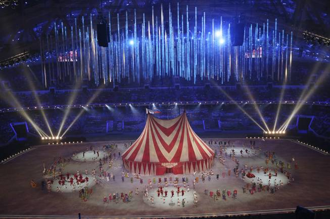 The circus segment during the closing ceremony for the 2014 Winter Olympics at Fisht Olympic Stadium in Sochi, Russia, Feb. 23, 2014. (Josh Haner/The New York Times)