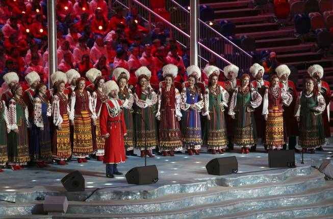 A musical group performs prior to the closing ceremony for the 2014 Winter Olympics at Fisht Olympic Stadium in Sochi, Russia, Feb. 23, 2014. (Doug Mills/The New York Times)