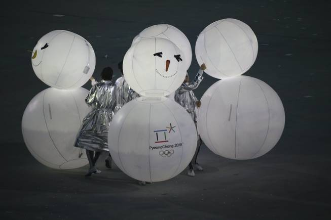 A segment dedicated to Pyeongchang, South Korea during the closing ceremony for the 2014 Winter Olympics at Fisht Olympic Stadium in Sochi, Russia, Feb. 23, 2014. (Doug Mills/The New York Times)