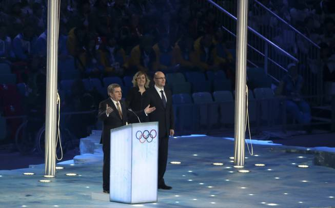 International Olympic Committee President Thomas Bach speaks during the closing ceremony for the 2014 Winter Olympics at Fisht Olympic Stadium in Sochi, Russia, Feb. 23, 2014. (Doug Mills/The New York Times)