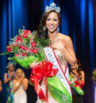 Lavetta Schneider is crowned 2014 Mrs. Nevada America on Sunday, Feb. 23, 2014, at Sam's Town in Las Vegas.
