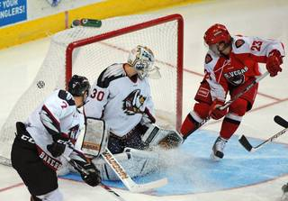 Wranglers center Chad Nehring taps home a one-time pass from teammate John Armstrong for his 11th goal of the season to give Las Vegas a 1-0 lead over the Bakersfield Condors on Tuesday evening.