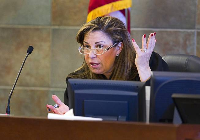 Judge Abbi Silver presides over a trial for Armando Vergara-Martinez at the Clark County Regional Justice Center Tuesday, Feb. 25, 2014. Martinez is accused of attacking Maria Gomez with a machete in the parking lot of a North Las Vegas convenience store in 2012.