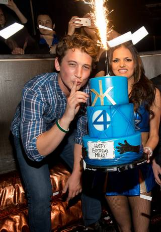 Miles Teller celebrates his 27th birthday at Hakkasan on Saturday, Feb. 22, 2014, in MGM Grand.
