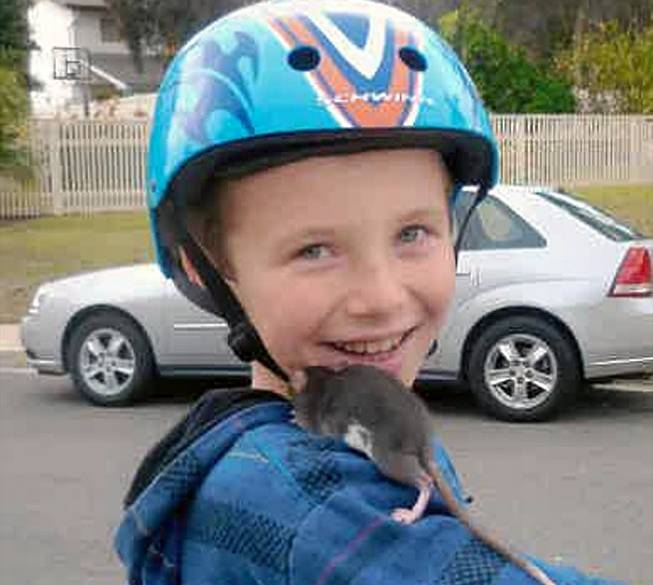 This undated photo released by Gomez Trial Attorneys courtesy of the Pankey family, shows Aidan Pankey and one of his pet rats.