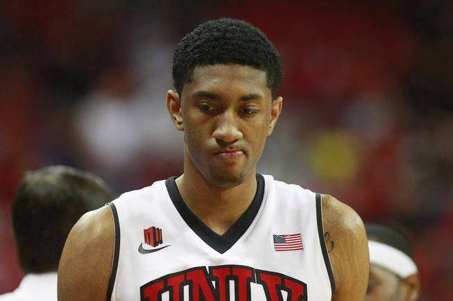 UNLV forward Chris Wood makes a face as he heads to the bench during their Mountain West Conference game against Colorado State Wednesday, Feb. 26, 2014 at the Thomas & Mack Center. UNLV won 78-70.