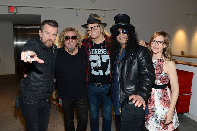 "Billy Duffy, Sammy Hagar, Matt Sorum, Slash and Lisa Loeb during the Kerry Simon ""Simon Says Fight MSA"" benefit concert at the Keep Memory Alive Center in Las Vegas on Feb. 27, 2014."