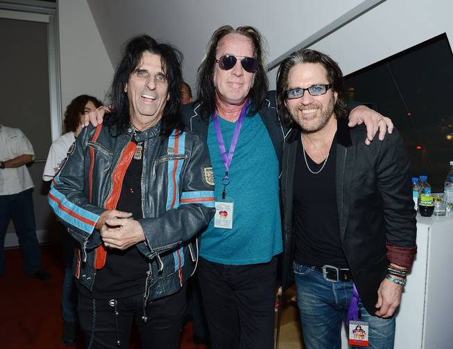 "Alice Cooper, Todd Rundgren and Kip Winger during the Kerry Simon ""Simon Says Fight MSA"" benefit concert at the Keep Memory Alive Center in Las Vegas on Feb. 27, 2014."