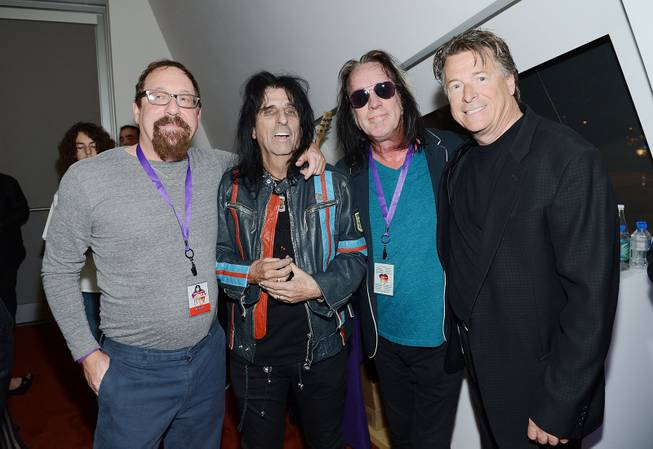 "Lonn Friend, Alice Cooper, Todd Rundgren and Gregg Giuffria  during the Kerry Simon ""Simon Says Fight MSA"" benefit concert at the Keep Memory Alive Center in Las Vegas on Feb. 27, 2014."