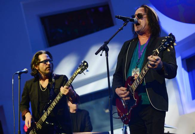 "Kip Winger and Todd Rundgren performs during the Kerry Simon ""Simon Says Fight MSA"" benefit concert at the Keep Memory Alive Center in Las Vegas on Feb. 27, 2014."